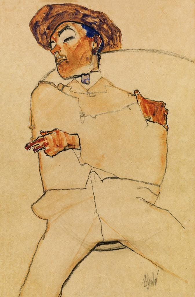 Egon Schiele, Schlafender Mann, watercolor, pencil & black crayon, 1910.