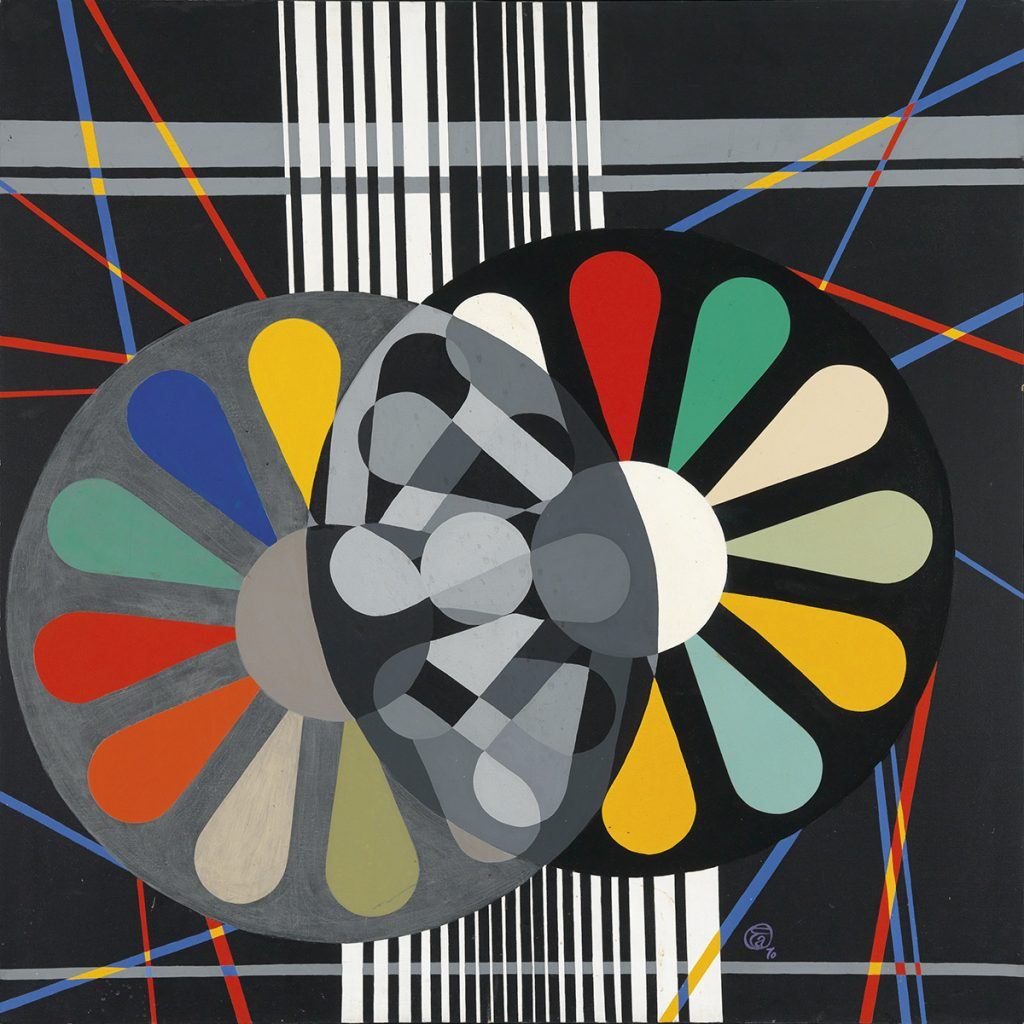 Eileen Anderson, Love Structure, oil on canvas, abstract of two geometric style flowers in monochromatic colors, 1970.