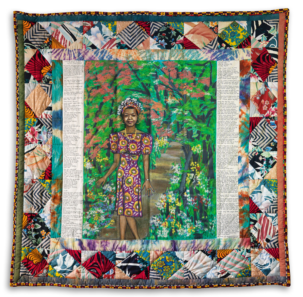 Faith Ringgold, Maya's Quilt of Life, acrylic on canvas, painted, dyed & pieced fabric, 1989.