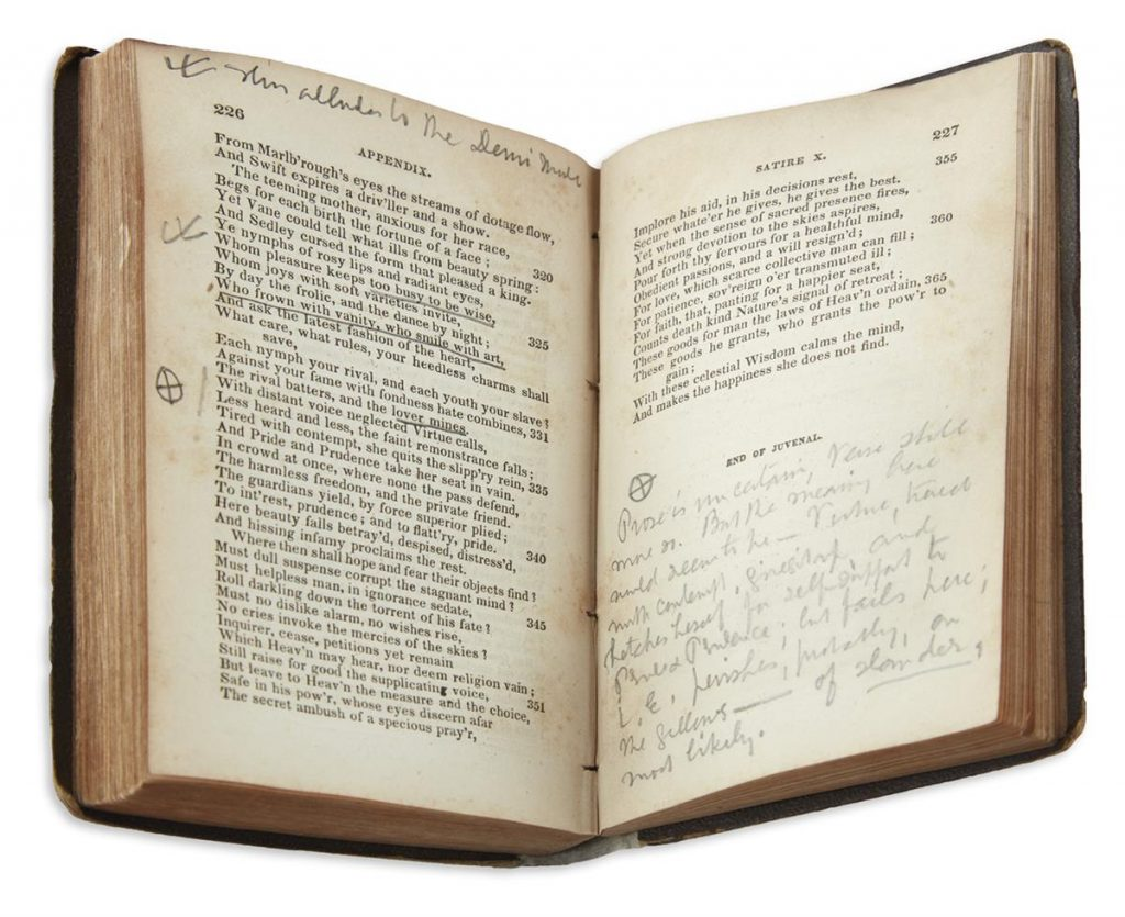 Herman Melville, two volumes of classic poetry, the first signed, annotated throughout, circa 1860.