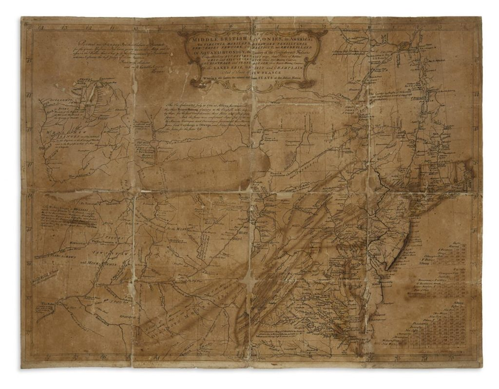 Lewis Evans, A General Map of the Middle British Colonies, proof copy, annotated, signed & dated by Evans, Philadelphia, 1755.