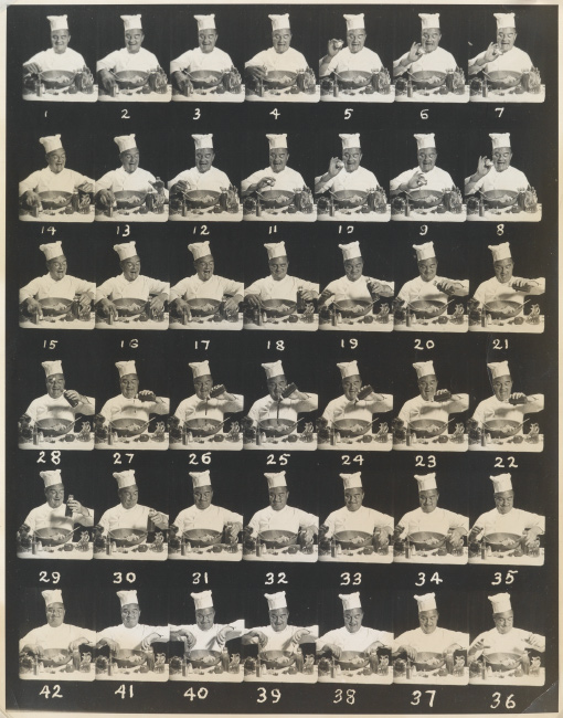 A composite of 42 frames depicting a chef making a salad, silver print, circa 1950s.