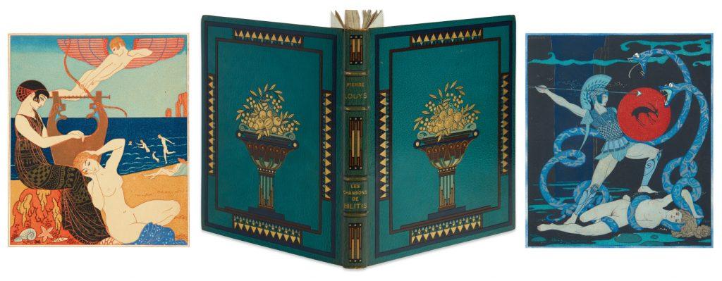 Les Chansons de Bilitis by Pierre Louÿs, illustrated by George Barbier and F.L. Schmied, signed by Bariber, Paris, 1922.
