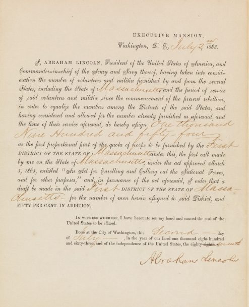 Abraham Lincoln, partly-printed document signed, call for troops issued during America's first national draft just days before the NYC draft riots, 1863.