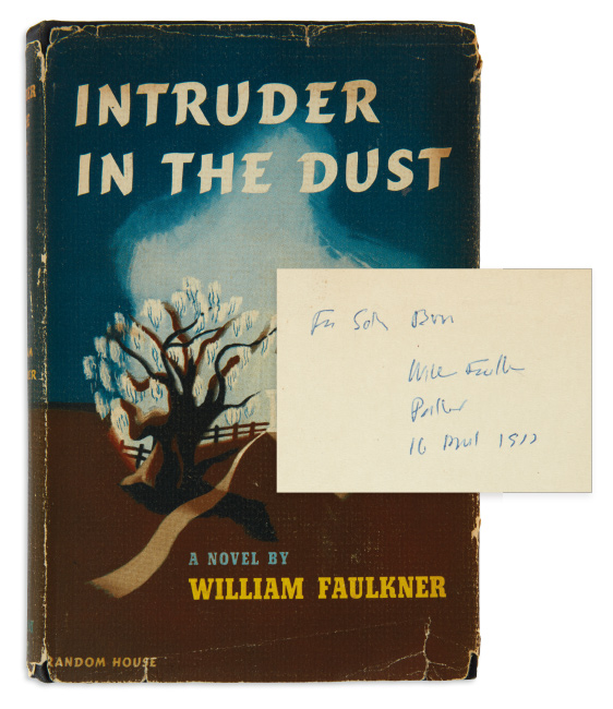 William Faulkner, Intruder in the Dust, first trade edition, family presentation copy, inscribed to Faulkner's first cousin, Sallie Burns, 1948.