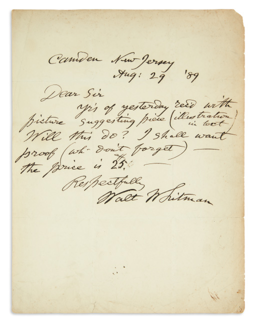 Walt Whitman, autograph letter signed to a Harper's editor, sending his poem Death's Valley, 1889.