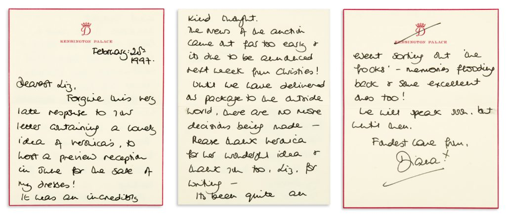 Diana, Princess of Wales, group of 6 autograph letters signed to British Vogue editor Elizabeth Tilberis, accepting invitation to the Met Gala and anticipating Christie's announcement of the sale of her dresses for charity, 1995-97.