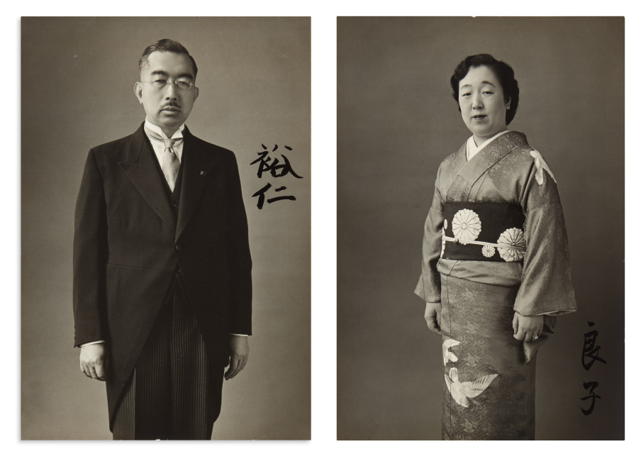 Hirohito and Nagako, Emperor and Empress of Japan, two photographs signed, showing Nagako in kimono and obi bearing the imperial seal.