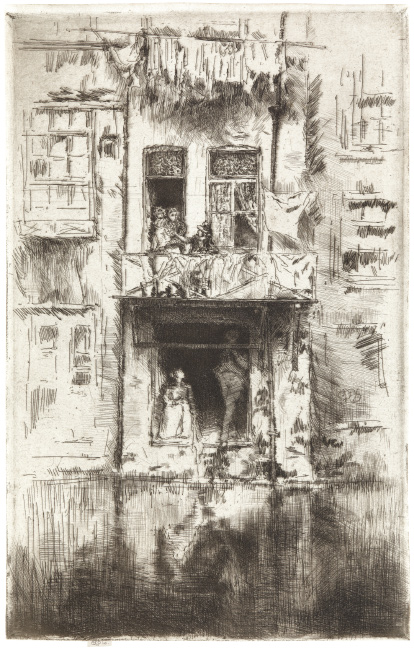 James A.M. Whistler, Balcony, Amsterdam, etching and drypoint, 1889.