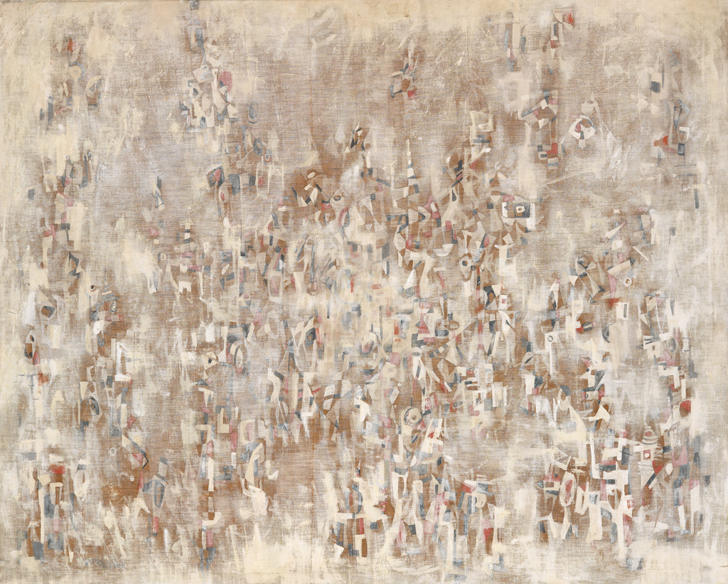 Norman Lewis, Untitled, oil on canvas of cream abstraction, circa 1958.