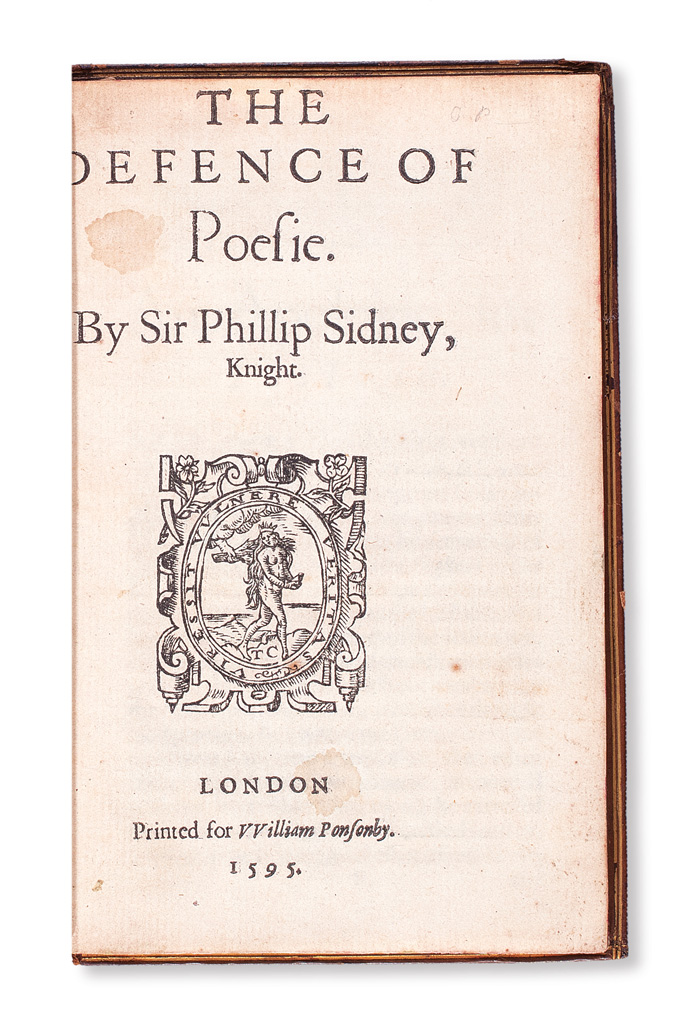 Sir Philip Sidney, The Defense of Poesie, unauthorized first edition, title page image, London, 1595.