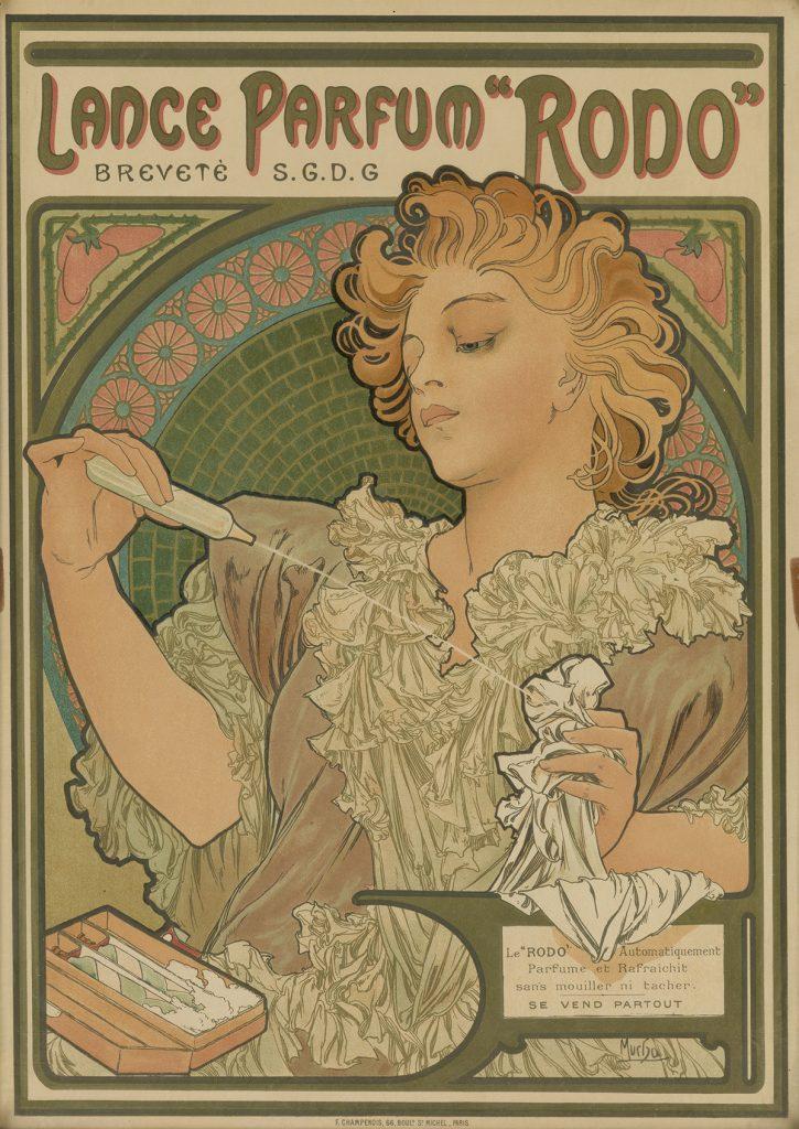 "Alphonse Mucha, Lance Parfum ""Rodo"", 1896."