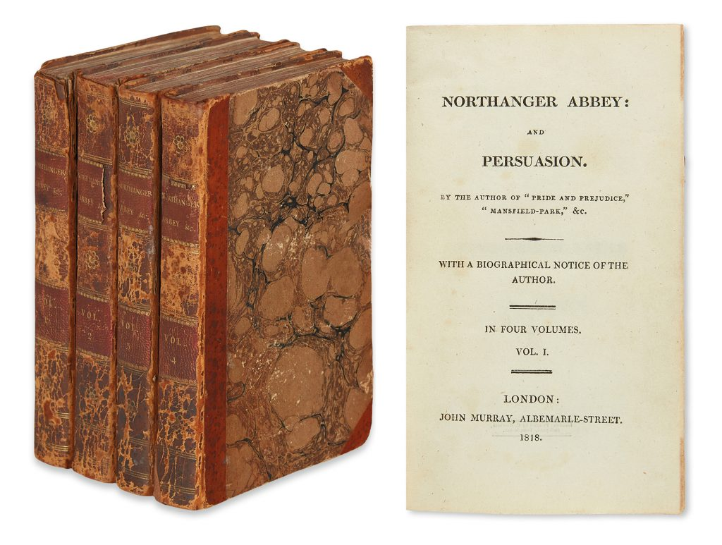 Jane Austen, Northanger Abbey and Persuasion, first edition, four volumes, London, 1818.