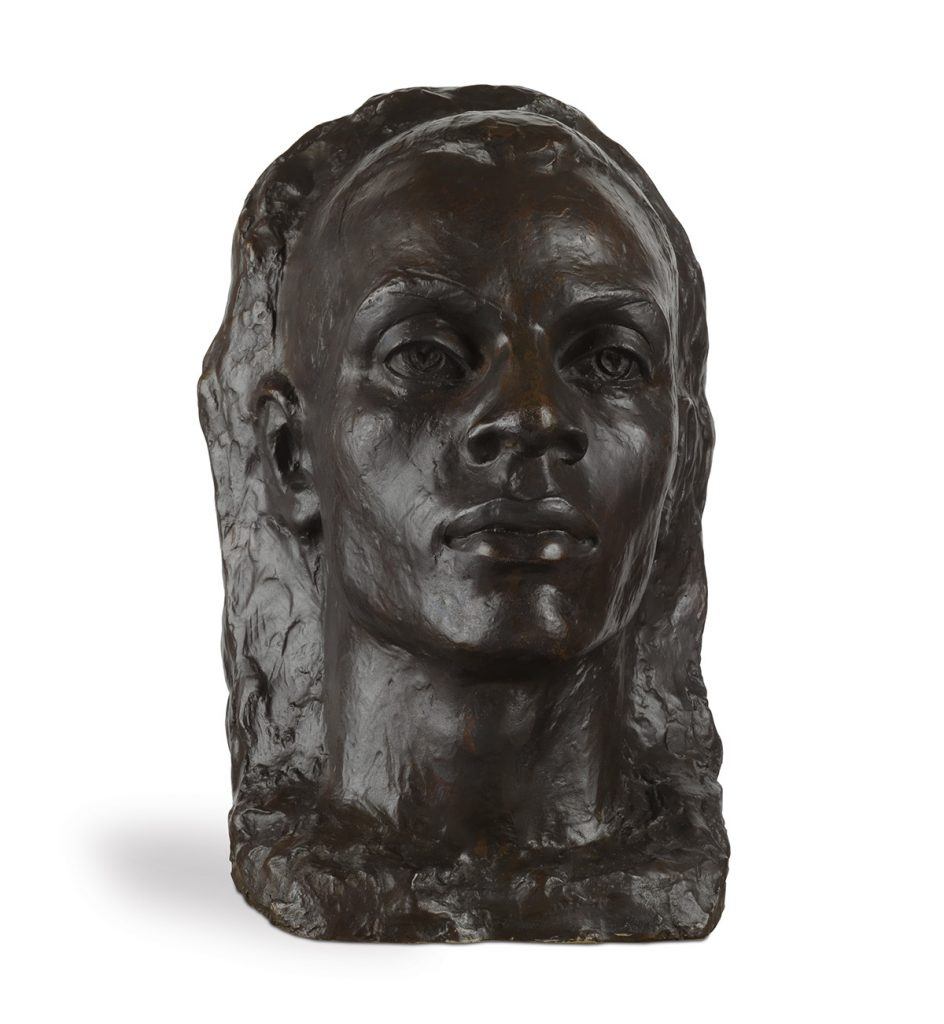 Richmond Barthé, The Negro Looks Ahead, cast bronze with dark brown patina, mounted on a wooden pedestal, 1944.