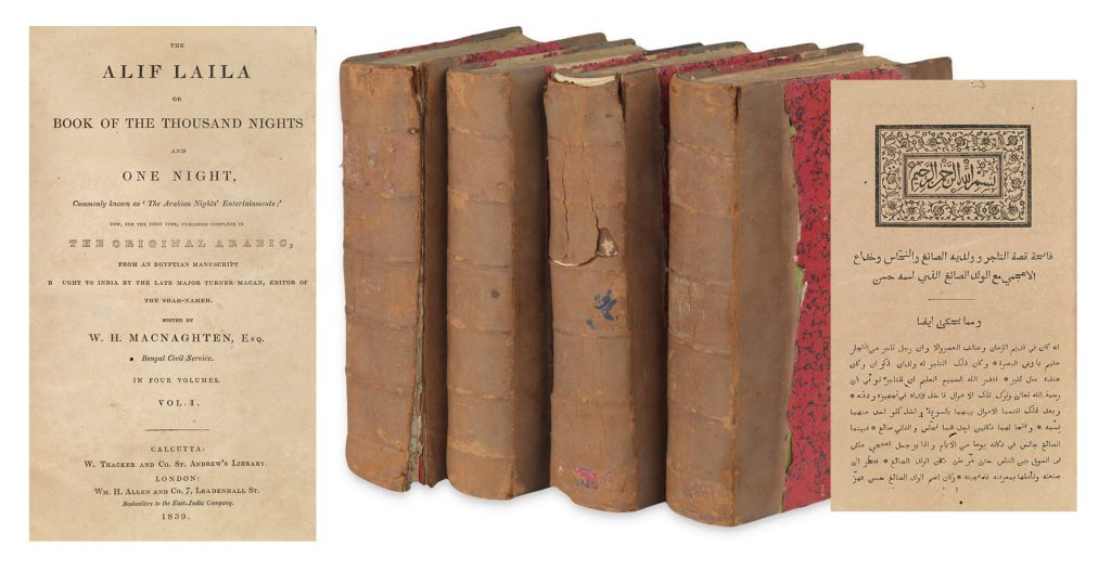 The Alif Laila or Book of the Thousand Nights and One Night, Calcutta II version, four volumes, Calcutta and London, 1839-42. Showing the title page in english, the four volumes, and the Arabic text page.